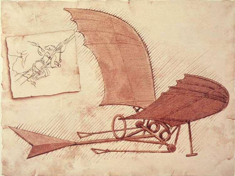 летательній апарат чертеж Леонардо Давинчи